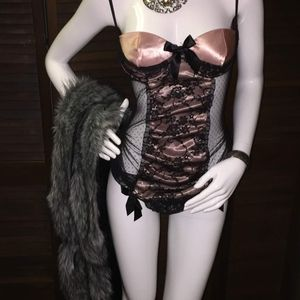 Pink & black lace teddy.